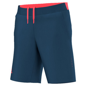 Men`s Pro Bermuda Tennis Short Tech Steel and Flash Red