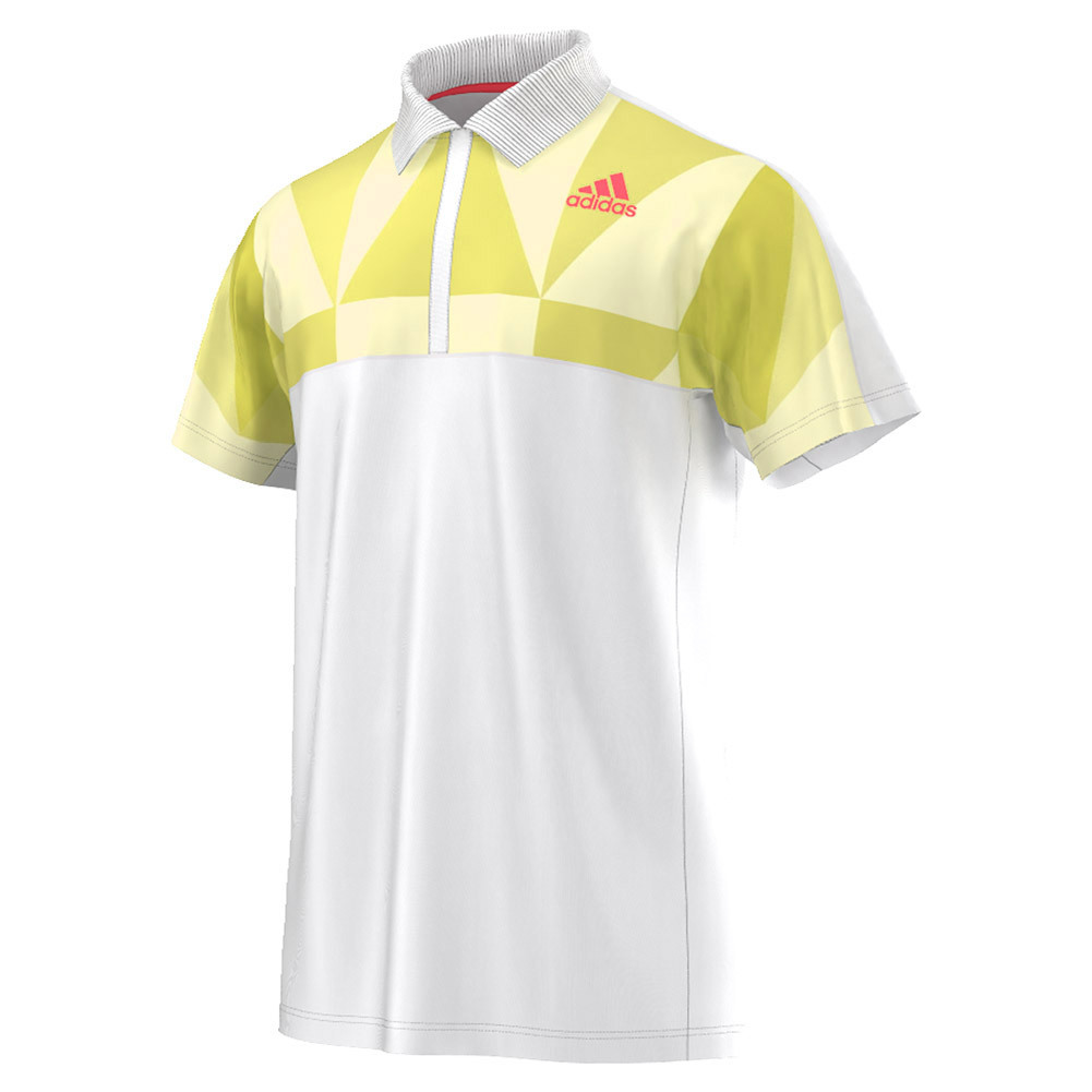 Men's Pro Tennis Polo White And Shock Slime