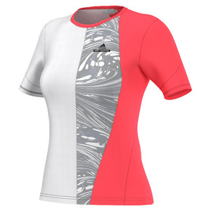 Women`s Stella McCartney Barricde New York Tennis Tee Flash Red and White
