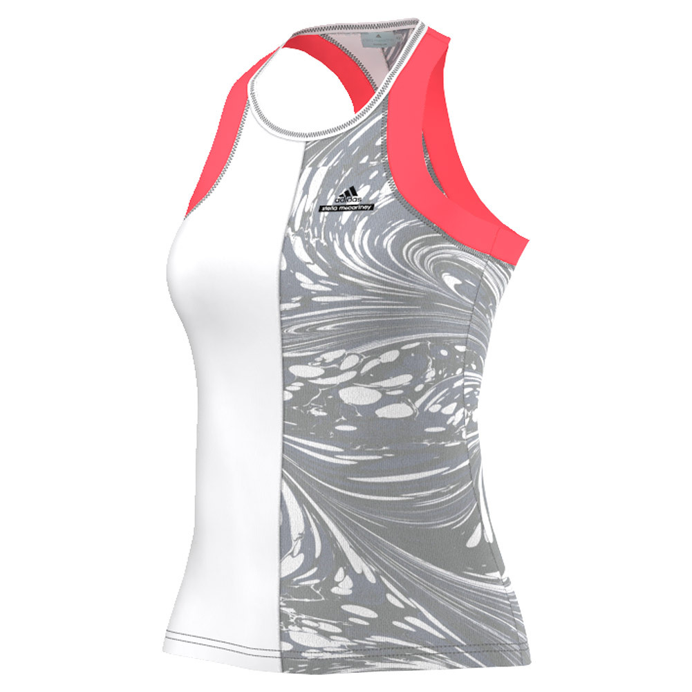 Women's Stella Mccartney Barricade New York Tennis Tank White And Oyster Gray