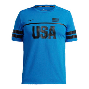Mens Dry Short Sleeve Running Top Light Photo Blue