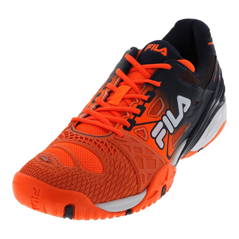fila s cage delirium tennis shoes in shock orange and