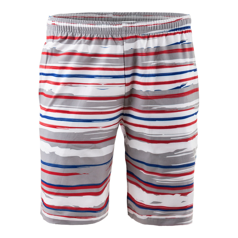 Men's Revolution Stripe Woven Tennis Short Red And White