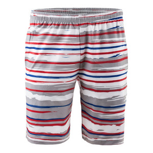 Men`s Revolution Stripe Woven Tennis Short Red and White