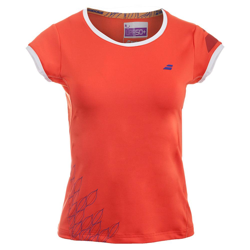 Girls ` Perf Cap Sleeve Tennis Top Red