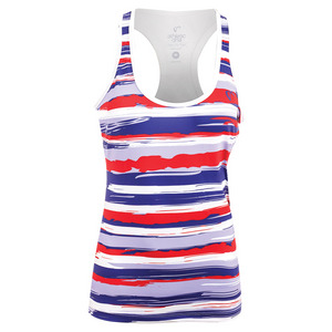 Women`s Liberty Stripes Refresh Tennis Tank Red and White