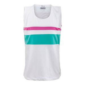 Girls` Heritage Tennis Tank White and Fuchsia Purple