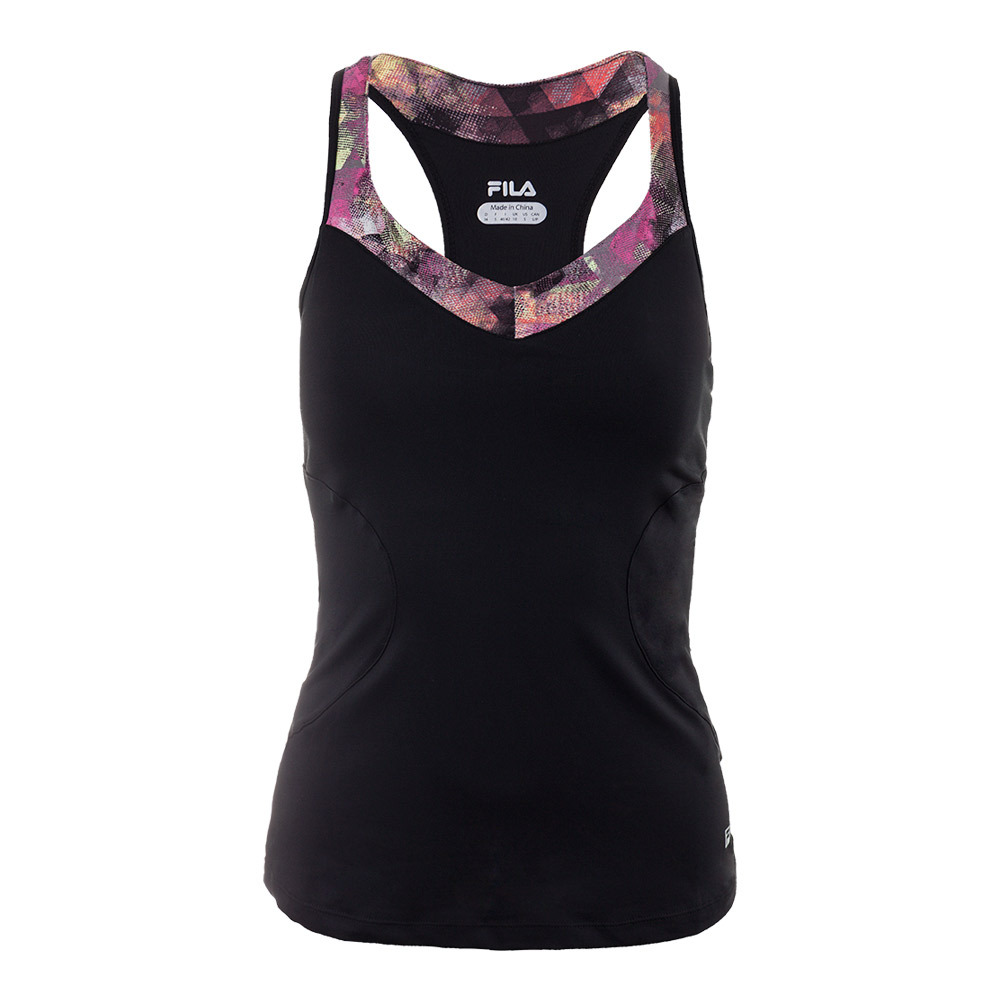 Women's Print Trim Racerback Tennis Tank Black And Kaleidoscope