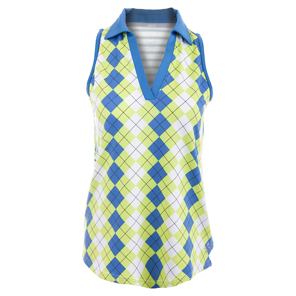 Women's Cut Away Johnny Collar Tennis Top Argyle