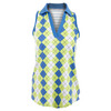 Women`s Cut Away Johnny Collar Tennis Top Argyle by JOFIT
