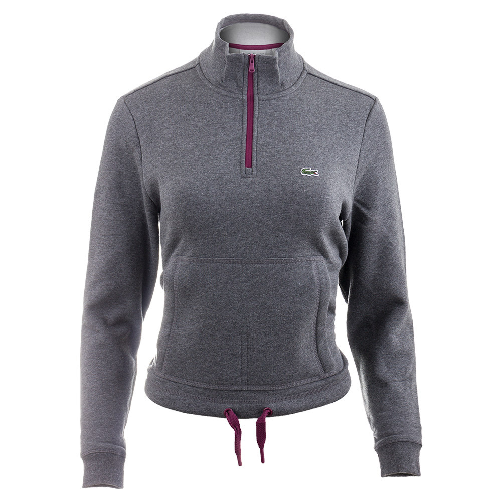 Lacoste Women's Long Sleeve Mockneck Half Zip Kangaroo Pocket ...
