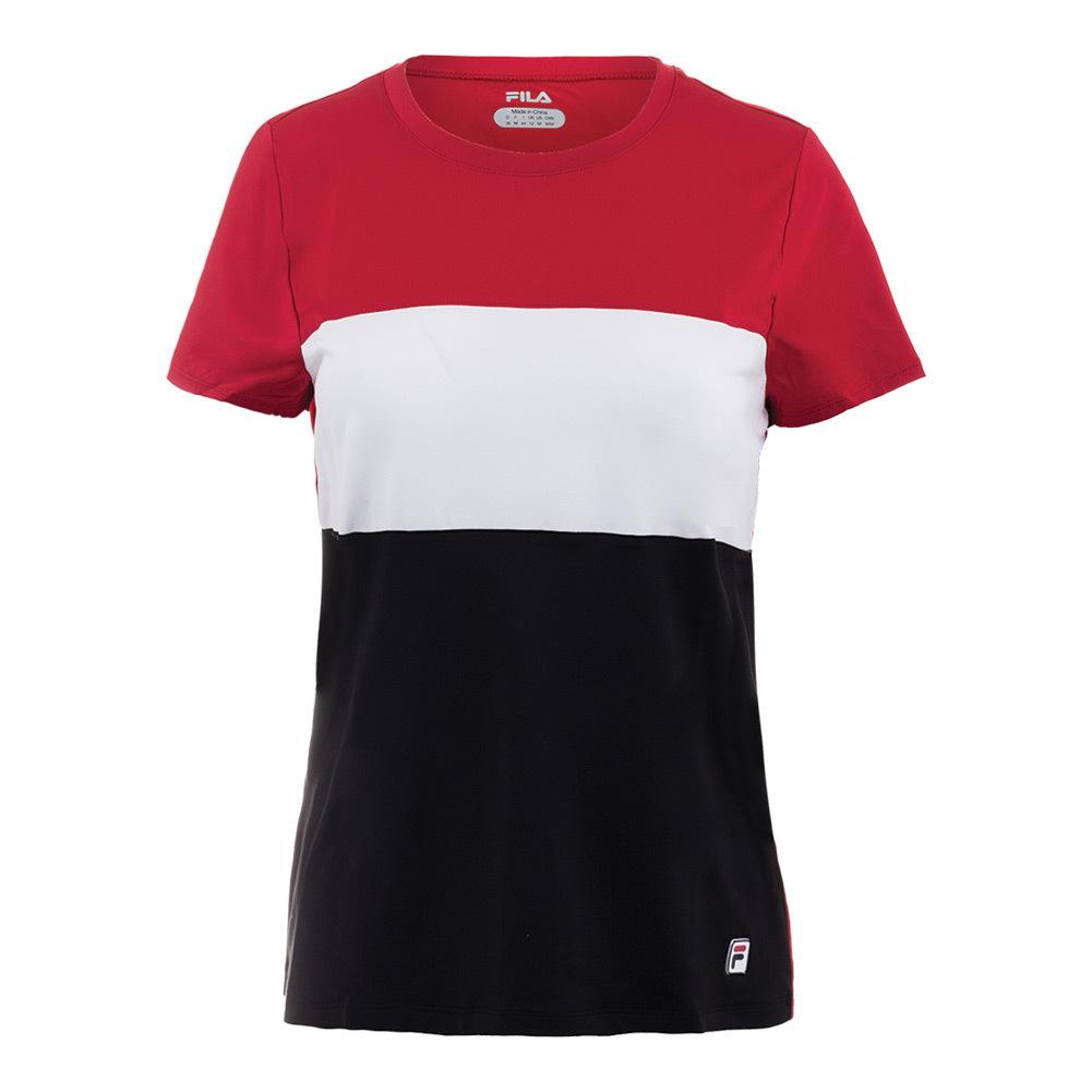 Women's Heritage Cap Sleeve Tennis Top Crimson And White