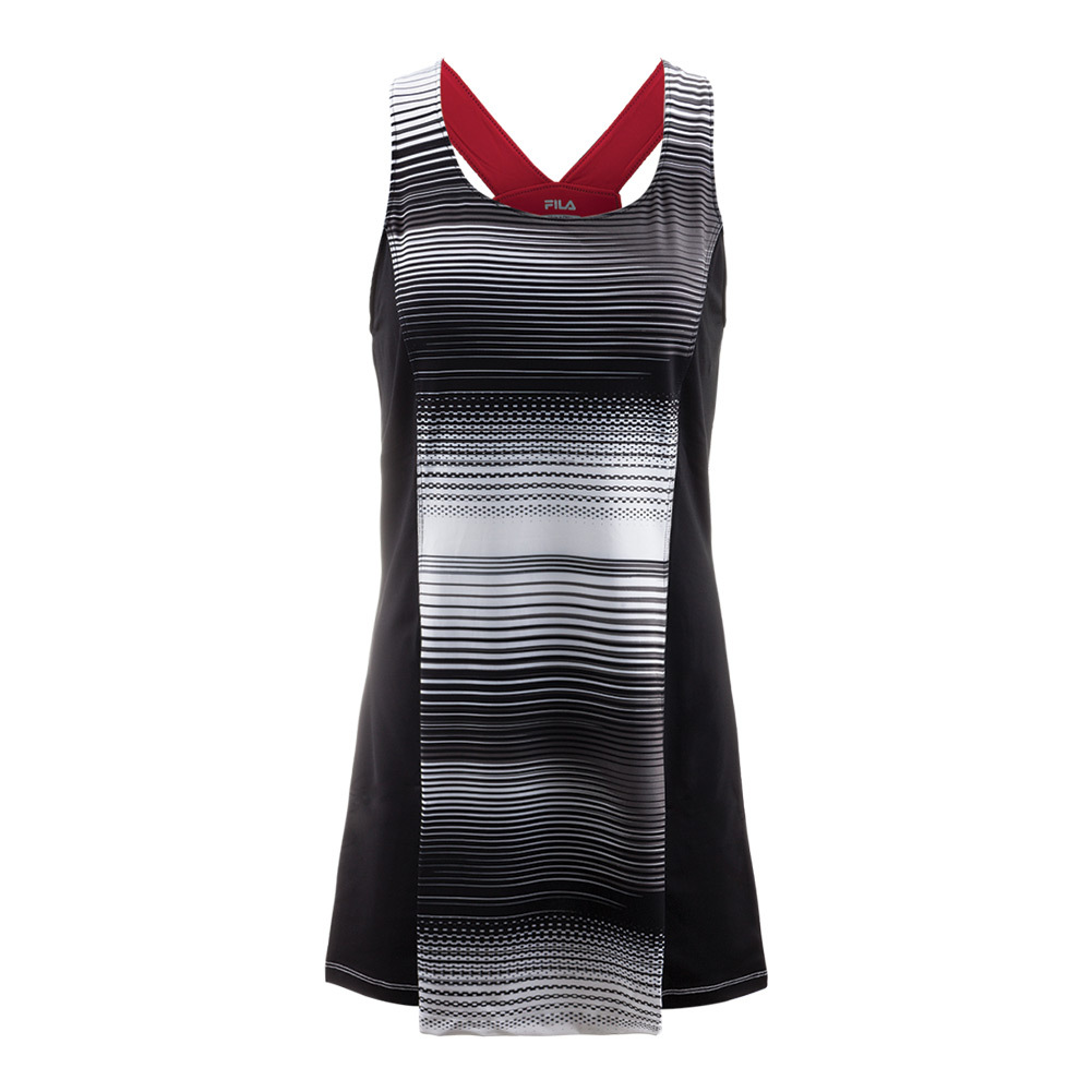 Women's Heritage Stripe Tennis Dress Black And White