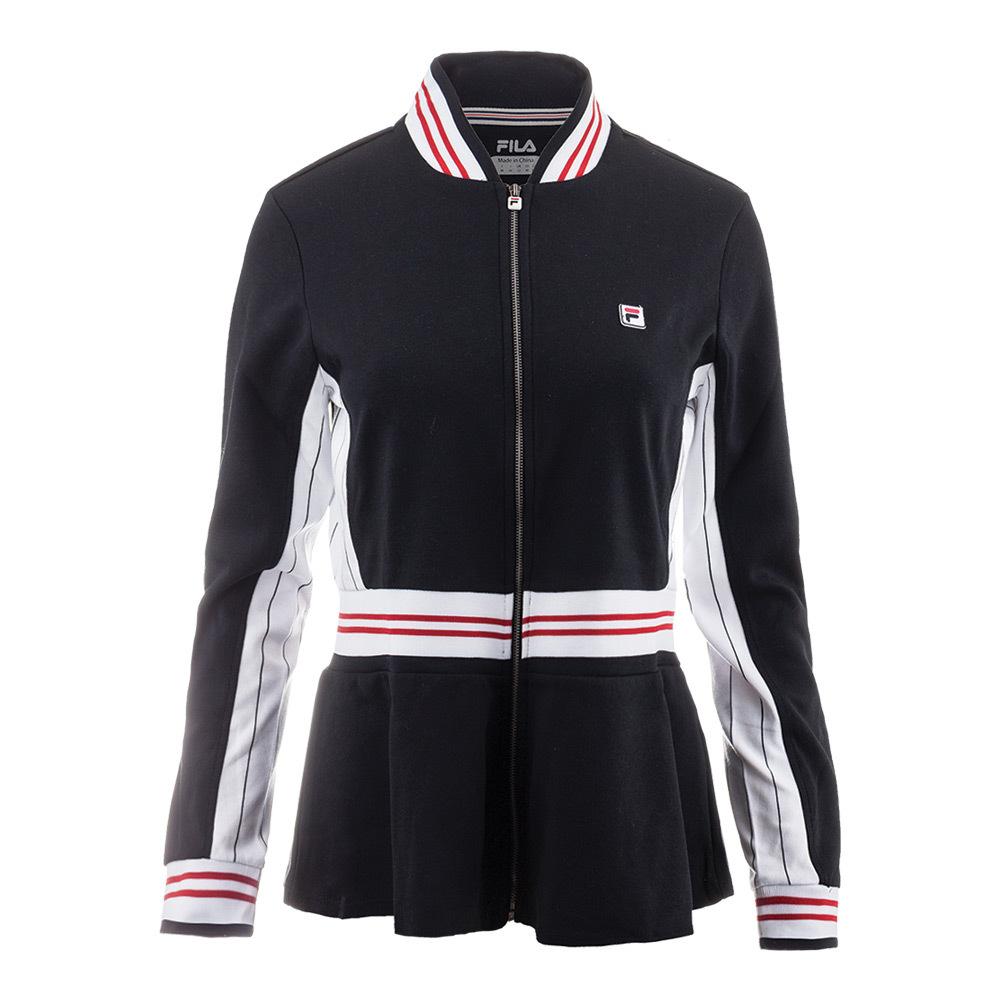 Women's Heritage Peplum Tennis Jacket Black