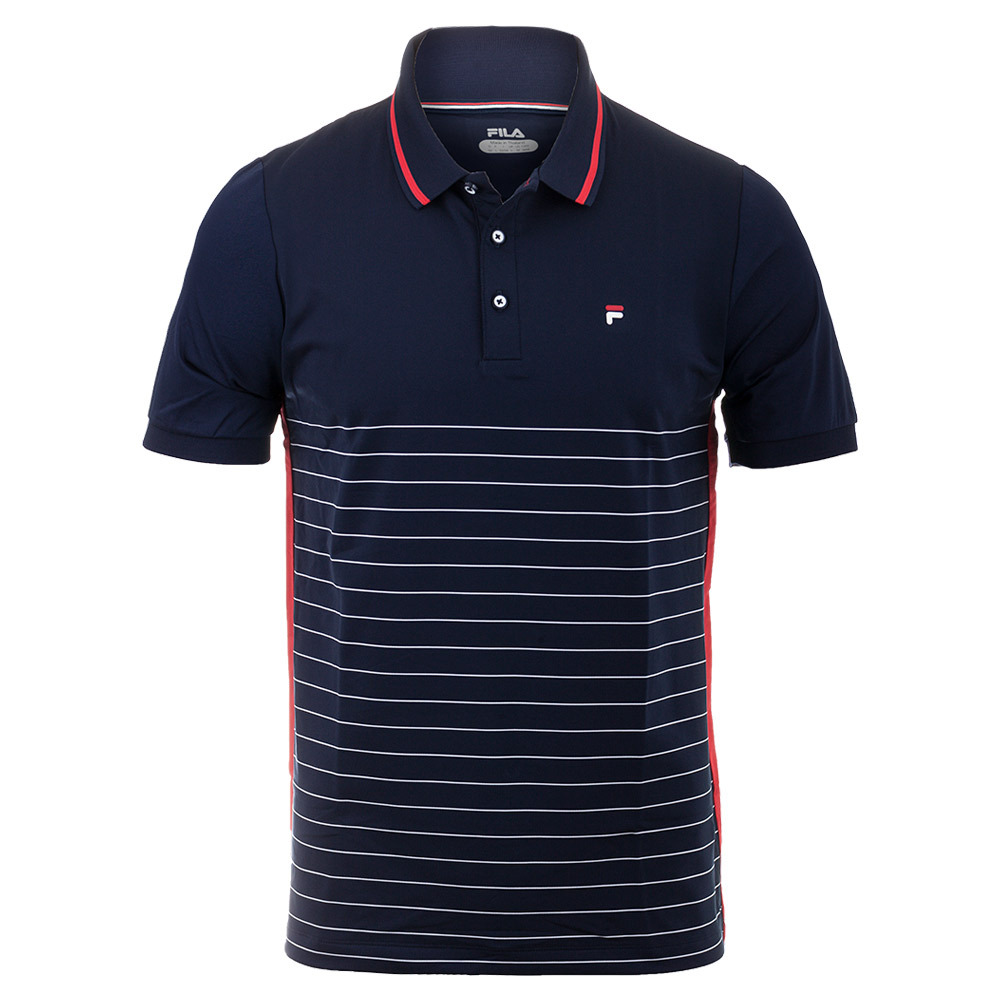 Men's Heritage Stripe Tennis Polo Navy And Chinese Red