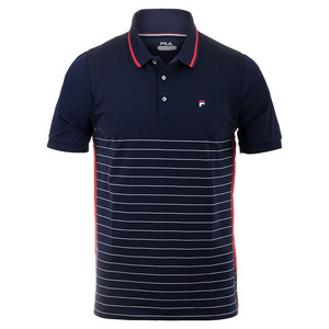 Men`s Heritage Stripe Tennis Polo Navy and Chinese Red