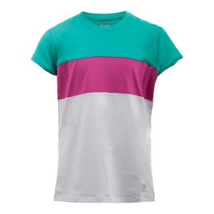 Girls` Heritage Cap Sleeve Tennis Top White and Atlantis