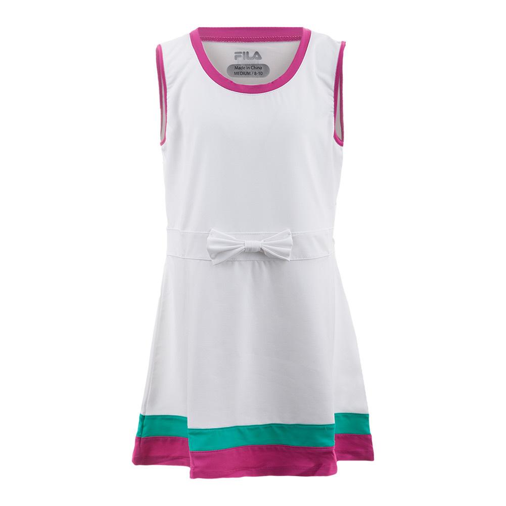 Girls ` Heritage Tennis Dress White And Fuchsia