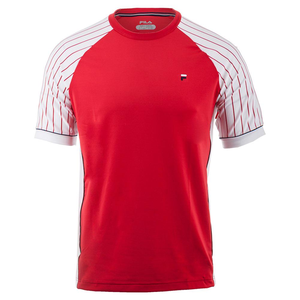 Men's Heritage Pin Stripe Raglan Tennis Crew Chinese Red