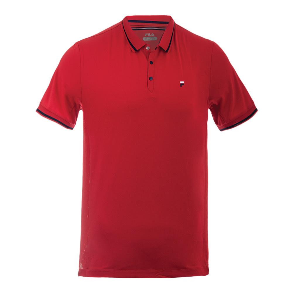Men's Heritage Pinstripe Mesh Tennis Polo Chinese Red