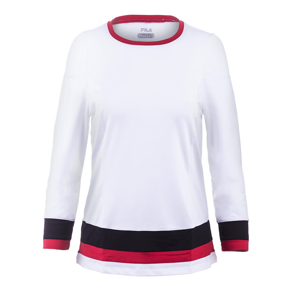 Women's Heritage 3/4 Sleeve Tennis Top White And Black