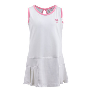 LITTLE MISS TENNIS GIRLS TENNIS DRESS WHITE W/PINK TRIM