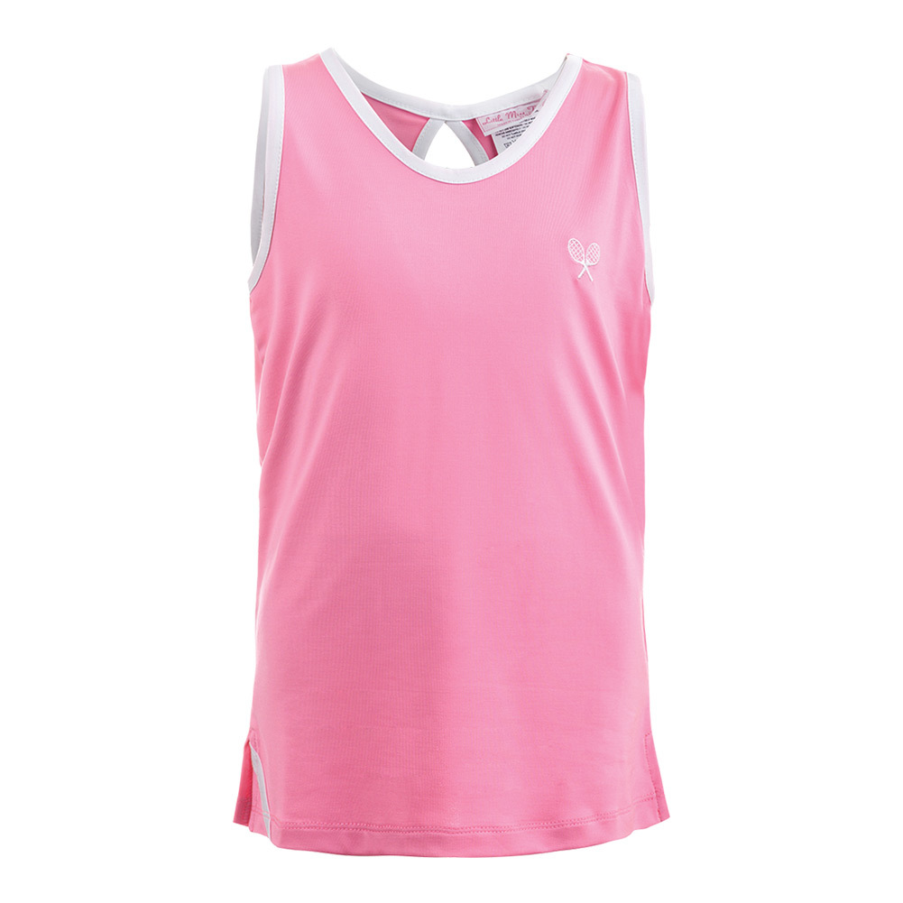 Girls ` Tennis Tank Pink With White Trim