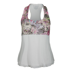 Women`s Racerback Tennis Top Wyn Print and White