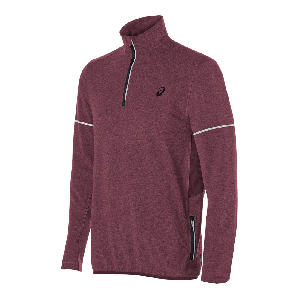 Men's Lightweight Fleece 1/2 Zip Top Rioja Red Heather