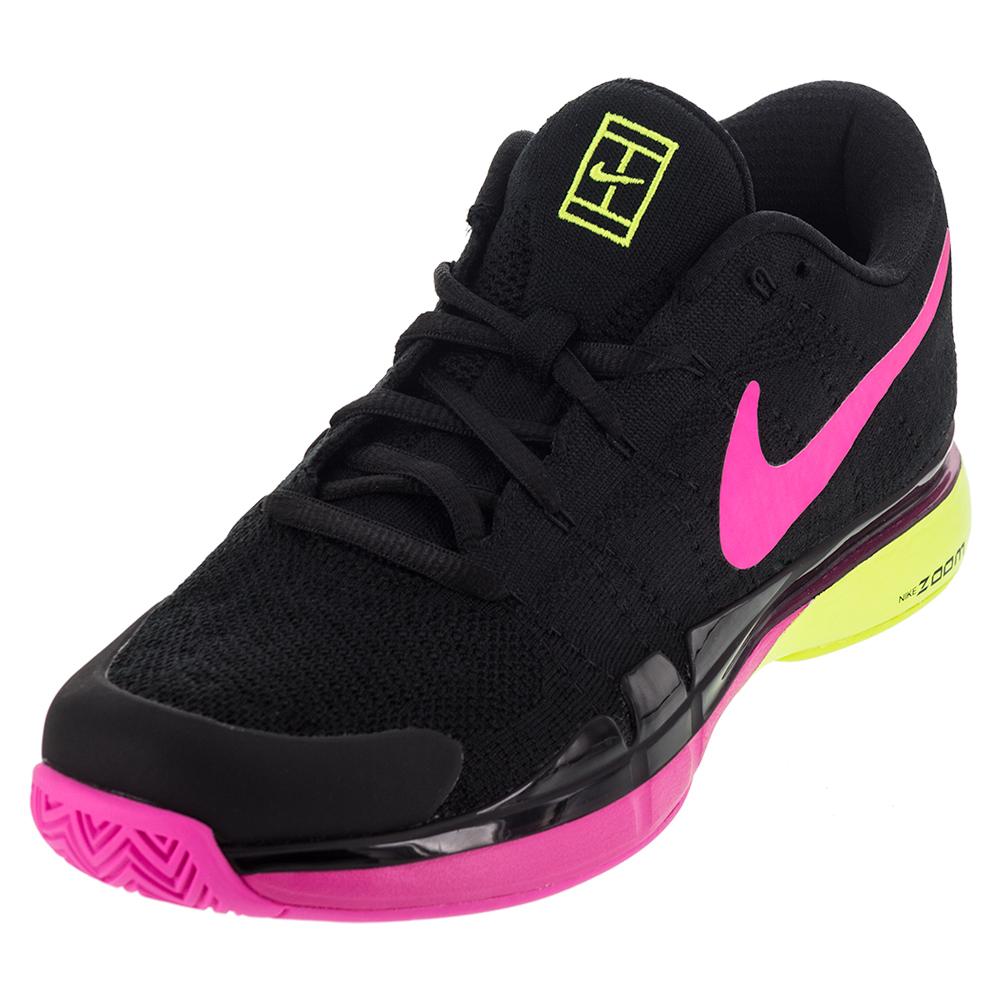 Men's Zoom Vapor 9.5 Tour Flyknit Tennis Shoes Black And Pink Blast
