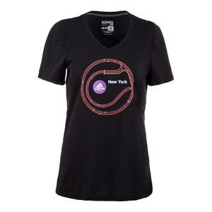 Women`s New York Graphic Tennis Tee Black