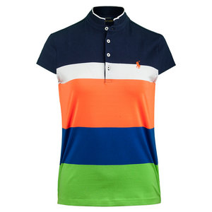 Women`s Cotton Lycra Stripe Top French Navy and Lime