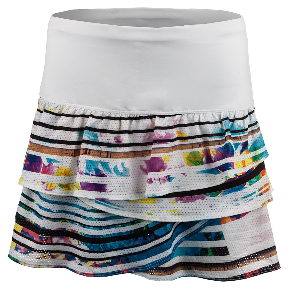 Women's Long Spin Rouched Scallop Tennis Skort Print