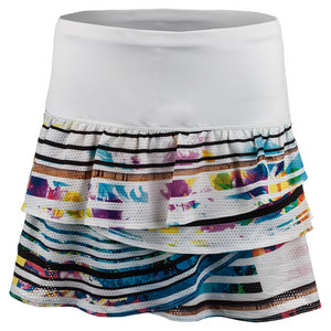 Women`s Long Spin Rouched Scallop Tennis Skort Print