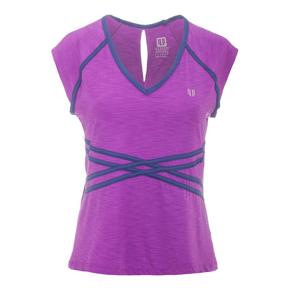 Women's Inspire Cap Sleeve Tennis Top Fushia