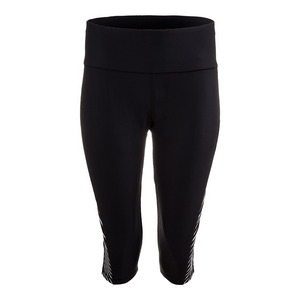 Women`s Diagonal Stripe Capri Tights Black