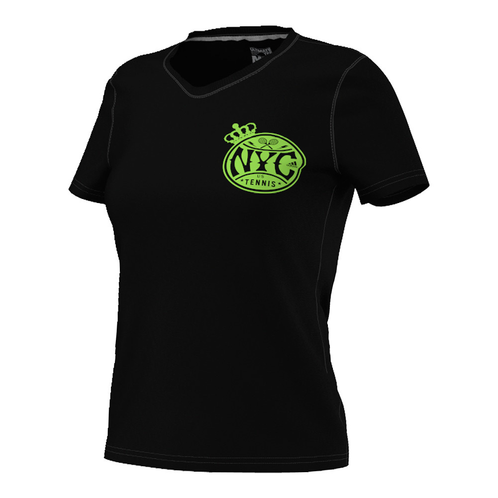 Women's Nyc Tennis V- Neck Tee Black