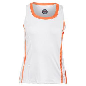Women`s Gabriella Tennis Tank White and Orange