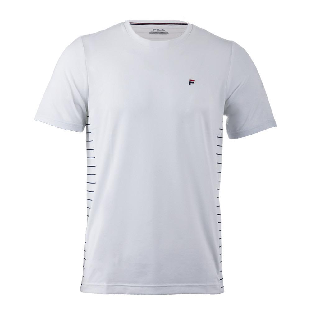 Men's Heritage Stripe Tennis Crewneck White And Navy