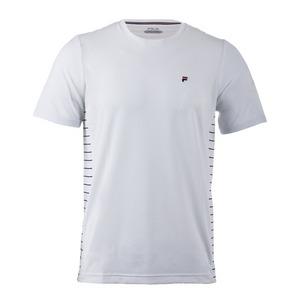 Men`s Heritage Stripe Tennis Crewneck White and Navy