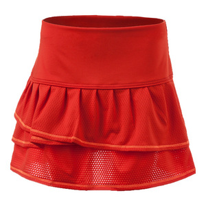 Girls` Pleated Tier Tennis Skort Crimson