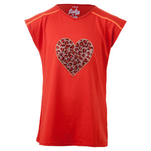 Girls` Swing Back Cap Tennis Top Crimson