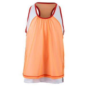 Girls` Mesh Layer Tennis Crop Neon Orange