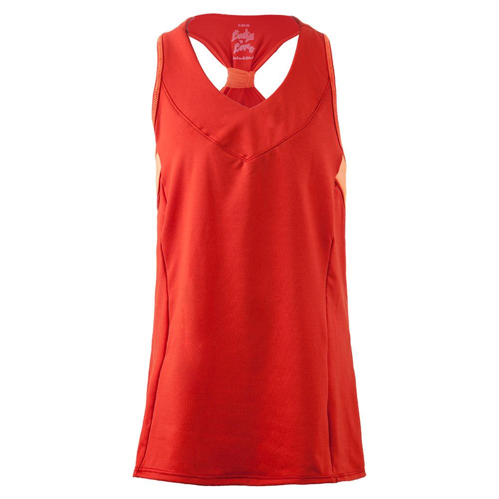 Girls ` V- Neck Racerback Tennis Tank Crimson