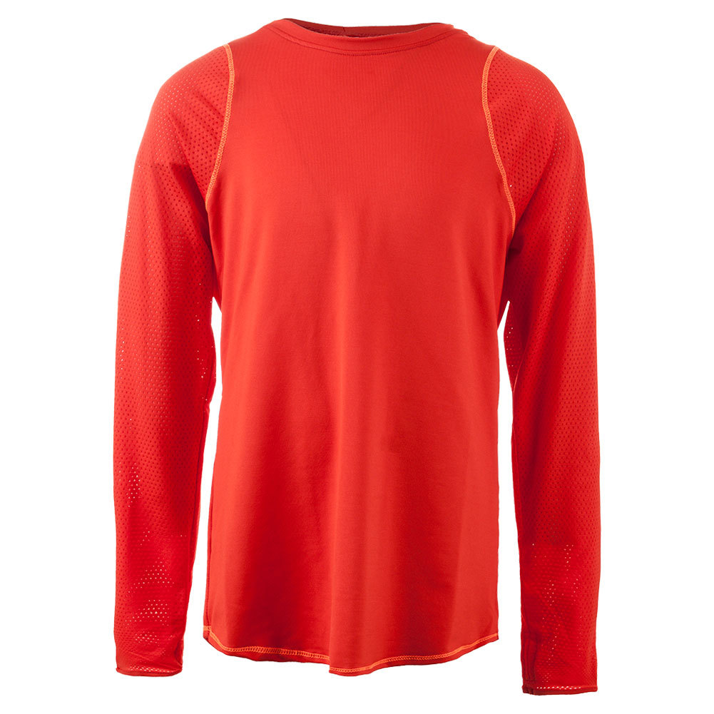 Girls ` Long Sleeve Tennis Crew Crimson