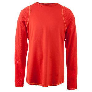 LUCKY IN LOVE GIRLS LONG SLEEVE TENNIS CREW CRIMSON