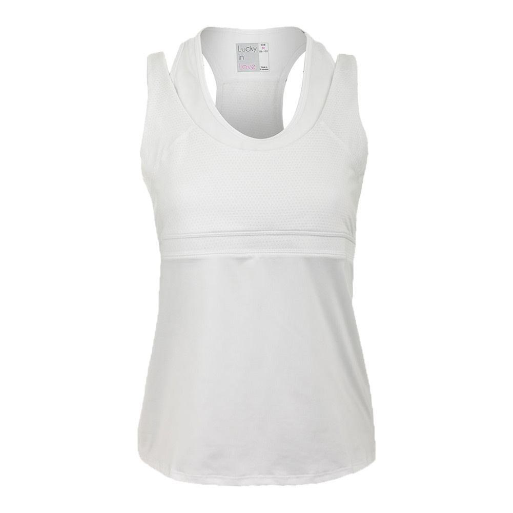 Women's Double- Up Racerback Tennis Tank White