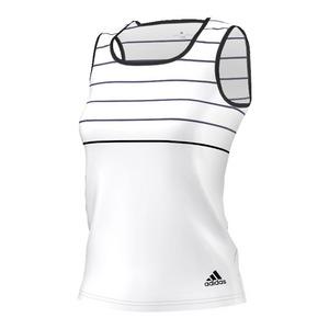 Women`s All Premium Tennis Tank White and Black