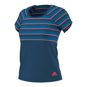 Women`s All Premium Tennis Tee Tech Steel and Flash Red