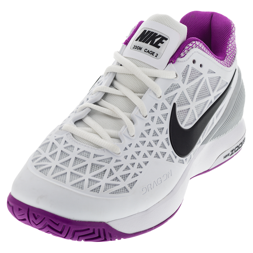 Women's Zoom Cage 2 Tennis Shoes White And Hyper Violet